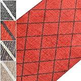 Teppichläufer Cosenza | Rauten Muster im Retro Look | viele Größen | moderner Teppich Läufer für Flur, Küche, Schlafzimmer | Niederflor Flurläufer, Küchenläufer | rot Breite 80 cm x Länge 150 cm