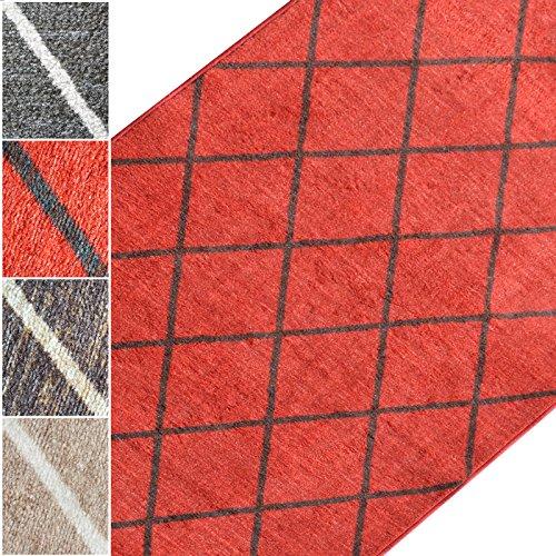 Teppichläufer Cosenza | Rauten Muster im Retro Look | viele Größen | moderner Teppich Läufer für Flur, Küche, Schlafzimmer | Niederflor Flurläufer, Küchenläufer | rot Breite 80 cm x Länge 300 cm -