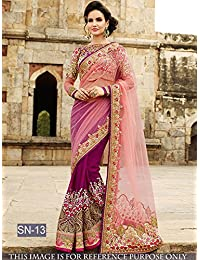 I-Brand Purple Color Naylon Net,Naylon Mono Net Fabric Multy & Hand Work Saree  ( New Arrival Latest Best Choice...