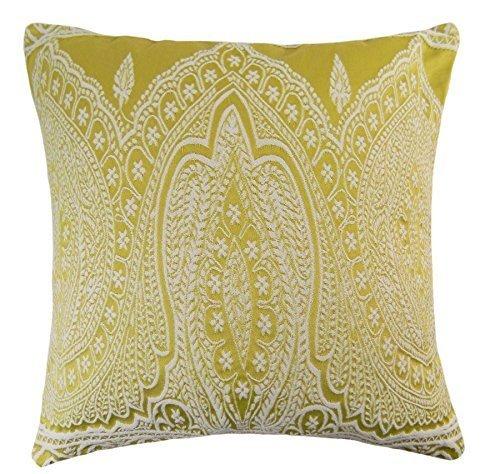 2x cesto Paisley tessuto misto cotone ricamato spessore cuscino copre giallo 50,8cm-50cm