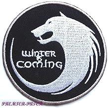 Se acerca el invierno parche (3cm) hierro bordado en insignia diseño de emblema de la casa Stark dire lobo
