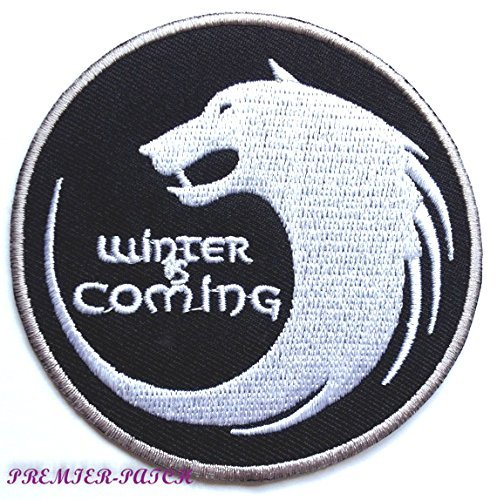 Winter is coming Patch (7,6cm) Embroidered Iron on Badge Aufnäher House Stark Emblem Dire Wolf