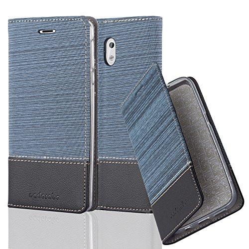Cadorabo - Book Style Schutz-Hülle für > Nokia 3 < case cover im Stoff - Kunstleder Design mit Kartenfach, Standfunktion und unsichtbarem Magnet-Verschluss in DUNKEL-BLAU-SCHWARZ