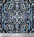 Soimoi Blau Viskose Chiffon Stoff Blumen & Paisley