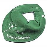 HALSTUCH PUSTEBLUME mit Namen oder Text personalisiert khaki für Baby oder Kind