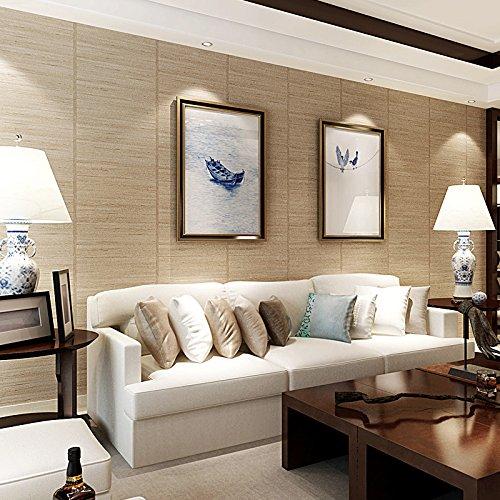 Poowef Wallpaper Chinesische Retro Holzimitation Hintergrundbild Decke Imitation Stroh Und Im Japanischen Stil Mit Tatami Zimmer Tapeten, 0,53*10...
