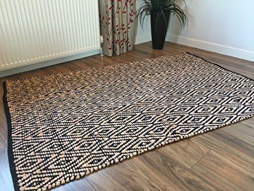 Negro y crema diseño de diamante geométrico Indian alfombra de tejido plano, negro, 90 x 150 cm