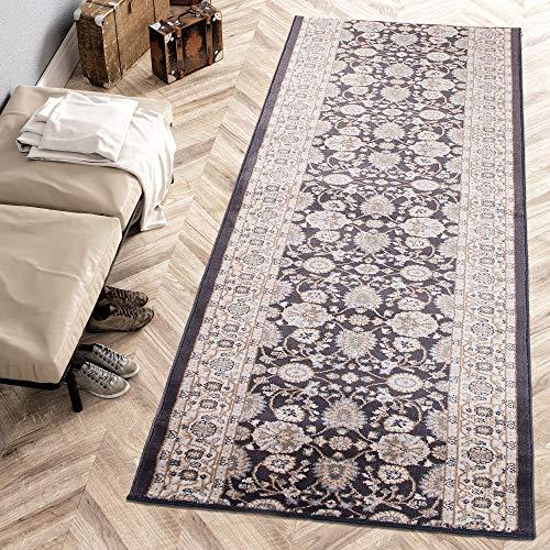 Carpeto Rugs Läufer Teppich Anthrazit Schwarz Orientalisch Flur Eingangsbereich Meterware - Teppichläufer in Viele Größen 70 x 180 cm -