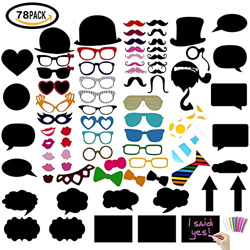 Imagen de konsait photo booth atrezzo 78pcs , diy burbuja de diálogo pizarra photo booth props incluyendo gafas, labios, sombrero para fotos de bodas, bigote, navidades, cumpleaños fiestas
