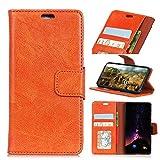 BONROY Samsung Galaxy J4 Plus Hülle - Kunstleder Wallet Case für Samsung Galaxy J4 Plus mit Kartenfächern und Stand - (KL Napa - Orange)