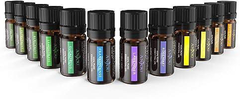 Oli Essenziali Puri Anjou Set di 12 Aromaterapia 100% Puri 5mL Ciascuna Lavanda Arancia dolce Albero del Té Eucalipto...