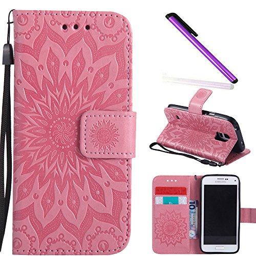 COTDINFOR Galaxy S5 Mini Funda Flores Cierre Magnético Billetera con Tapa para Tarjetas de Cárcasa Elegante Retro Suave PU Cuero Caso Case para Samsung Galaxy S5 Mini Sunflower Pink KT