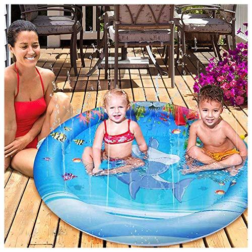 XIONGDA Outdoor Splash Spielmatte Aufblasbare Sprinkle und Splash Spielmatte Sommergarten Spray Wasser Spielzeug Spaß für Kinder/Hund/Katze/Haustiere/Familienaktivitäten