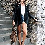 SuperSU Lang und Streifen Einfarbig Revers Faux Wildleder Damenjacke Elegante Büro Business Blazer Anzug Kurzjacke Langarm Outwear Asymmetrisch Warm Elegant Locker Oversive Kimono Cardigan Mantel Test