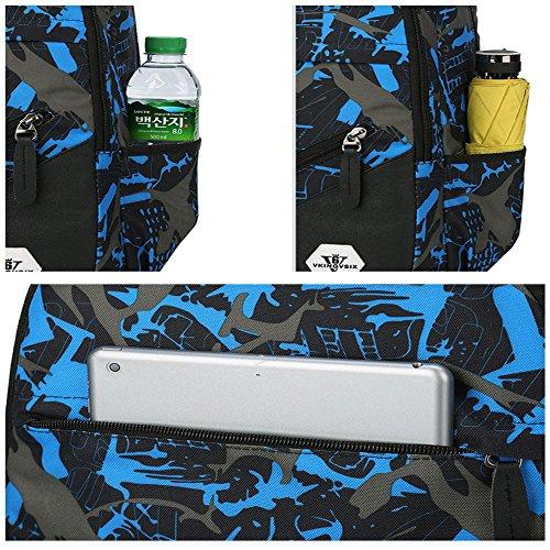 Rucksack Laptop Rucksack Schulbeutel für Notebook Computer, Business, Reisen, Arbeit (grau) Blau