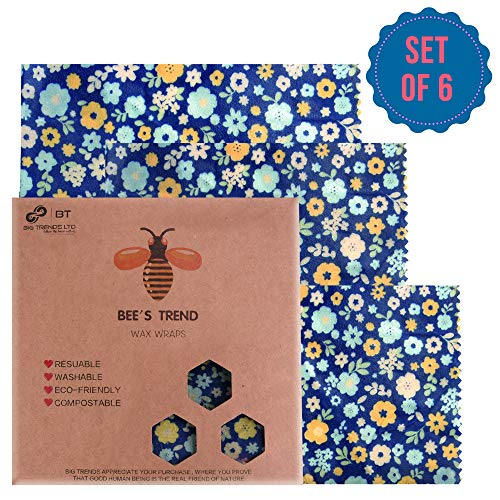 Bienenwachs-Wraps 6er-Set durch Bee's Trend für natürliche Lebensmittelaufbewahrung, keine Abfälle, Käse- und Sandwich-Verpackungen, waschbare Schüssel-Abdeckungen Blue (Flower Pattern)