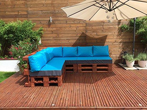 Palettenkissen Palettenauflage Sitzkissen Palettensofa Kissen Paletten Polster (Sitzkissen 120x80x15 cm, Türkis) - 2
