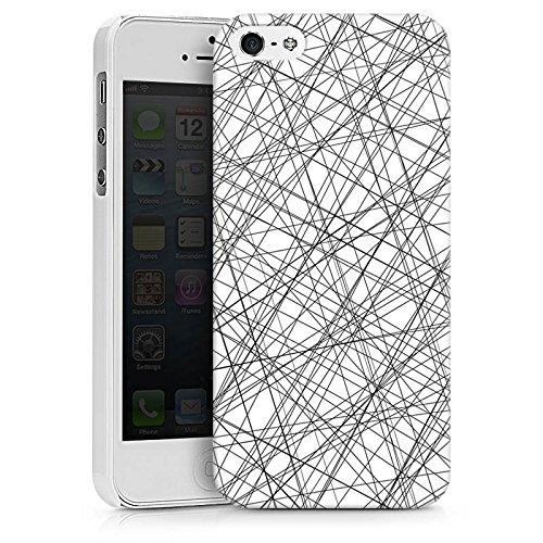 Apple iPhone X Silikon Hülle Case Schutzhülle Streifen Fäden Muster Hard Case weiß
