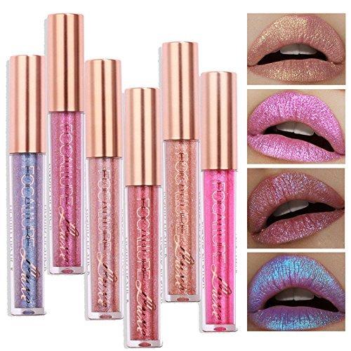 TOPBeauty 6pcs Fashion Women Glitter Lip Makeup Waterproof Lip Gloss Nude Glitter Shimmer Focallure Lipstick Lip Kit