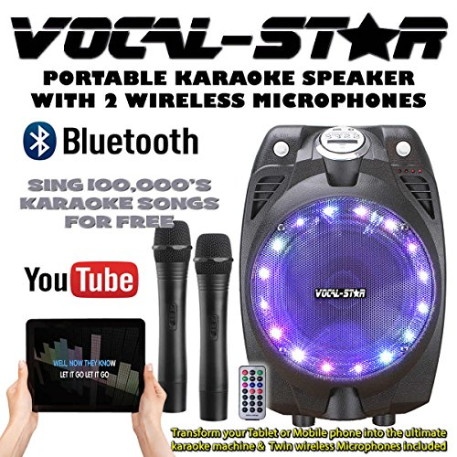 ireless Karaoke Machine Black Active Speaker Wireless Mics Bluetooth ... ()