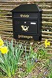 Wandbriefkasten,Briefkasten, Premium-Qualität aus Stahl, verzinkt, pulverbeschichtet W groß in schwarz anthrazit dunkel Zeitungsfach Zeitungen Post antik Mailbox Schild
