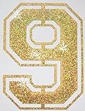 Stoff Pailletten Paar Fußball Zahl Bügelbild gold 9