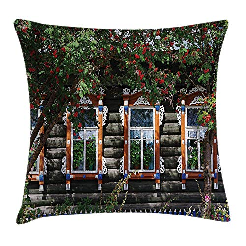 Shutters Decor Throw Pillow Cushion Cover, Wooden House with Shutter at Windows Flower Trees Dream Home Artwork, Decorative Square Accent Pillow Case, 18 X 18 Inches, Red Green Brown
