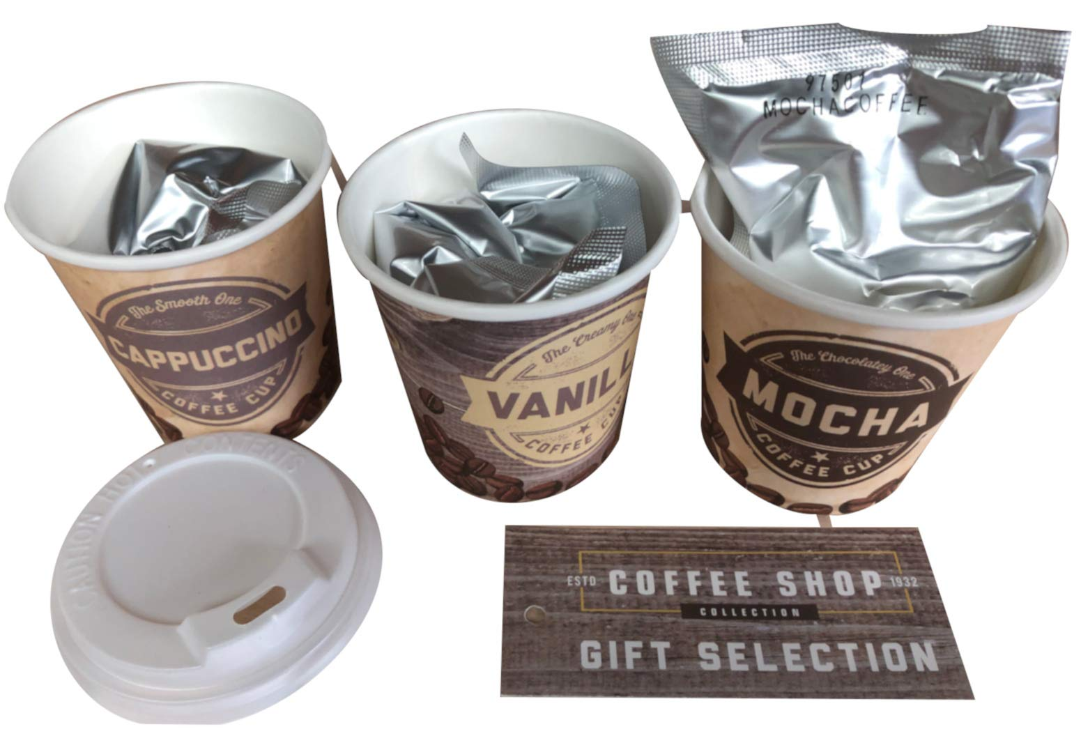 Coffee Tasters Bundle – 4 Coffee Syrups & 6 Travel Cup Collection in 2 Gift Set Boxes > Hazelnut, Vanilla, Caramel, Cinnamon , Mocha, Cappuccino & Latte. A Perfect Seasonal Collection Gift at Anytime