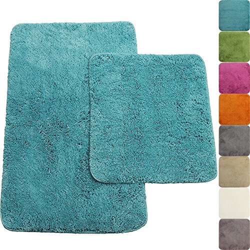 proheim Badematte 2-teiliges Set 50 x 80 und 45 x 50 cm rutschfester Badvorleger Premium Badteppich 1200 g/m² weich & kuschelig Hochflor Duschvorleger, Farbe:Türkis