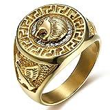 Uezenu Herren 18K Gold Edelstahl Ring Hiphop Indianer Kopf Punk Ring,Größe:70(22.3)