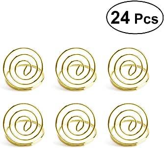 BESTONZON Hochzeit Stahl Runde Tischnummer Halter Clip Foto Halter Tischkarte Halter Platzkartenhalter 12 St/ück Ros/égold