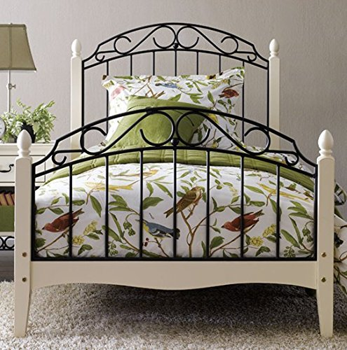 Solo Antique White Metal Bed in Single Double & King Size. Pinewood with Mesh Metal Base (Single)