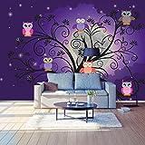 Fototapete Eulen auf einem Baum Vlies Tapete Wandtapete - Tapete - Moderne Wanddeko - Wandbilder - Fotogeschenke - Wand Dekoration wandmotiv24 Größe: S 200 x 140cm - 4 Teile - Vlies