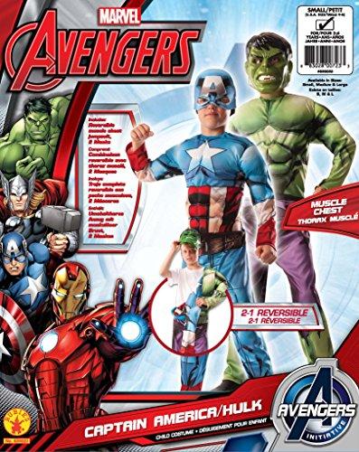 Imagen de rubie 's–disfraz de oficial marvel de los vengadores montar hulk de capitán américa deluxe, niño–pequeño alternativa
