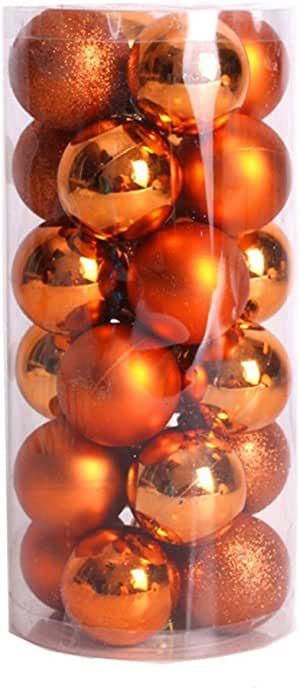 Boule De Noel Orange Bringbring 24PCs Boules de Noël,Brillantes Décoration de d