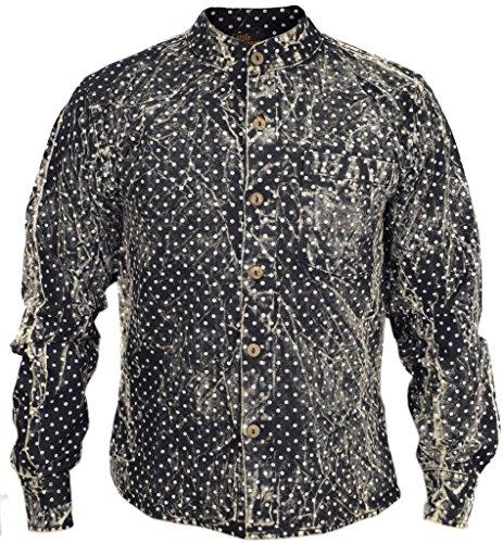 Little kathamandu coton chanvre Pois Délavé d'été décontracté chemises Noir
