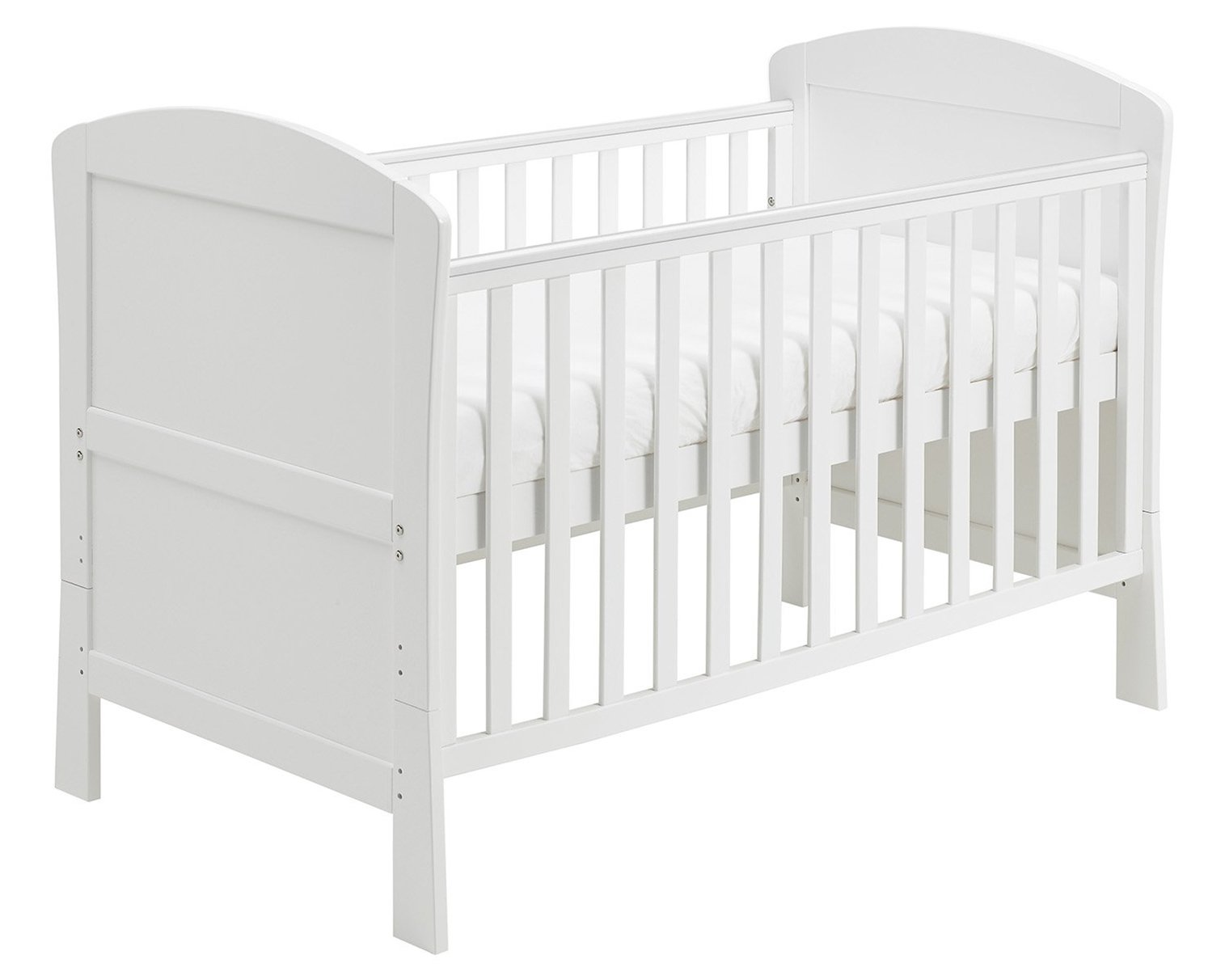 Babymore Aston Drop Side Cot Bed (White) with Foam Mattress  2 protective teething rails 3 base heights 1 drop side, 1 fixed side 1
