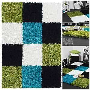 exklusiver hochflor design shaggy mit karo muster in schwarz gr n t rkis hochwertiger weicher. Black Bedroom Furniture Sets. Home Design Ideas