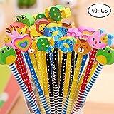 McNory 40 Stück Schule HB Stifte Set, Bleistifte mit Radiergummi von Tiere Blumen Sonne Schmetterling etc für Geburtstag Mitgebsel Geschenk Kinder Party Gastgeschenk