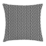 RAINNY Minimalist Throw Pillow Cushion Cover, Geometric Style Square Trippy Contemporary Artistic Reflection Cubes Print, Decorative Square Accent Pillow Case, 18 X 18 inches, Black White