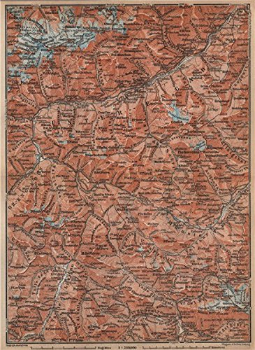 Price comparison product image LOWER ENGADINE. Livigno Bormio Ftan Scuol Silvretta Range Piz Buin - 1899 - old antique vintage map - printed map s of Switzerland