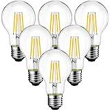 ANWIO 7.5W E27 Ampoule LED Filament A60, 1055Lm Equivalent à Ampoule Halogène 75W, Blanc Chaud 2700K, Non Dimmable, Lot de 6