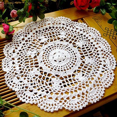 ohl Blume Tisch-Sets Hand gehäkelt Spitze Deckchen rund Tisch Untersetzer, weiß, Einheitsgröße (Weiße Deckchen)