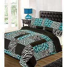 Azul y Negro Leopardo y Cebra Funda de edredón juego de cama, teal, black, white, doble