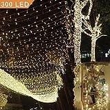 Uping Catena Luminosa Stringa di Luci 300 LED, per Festa Giardino Natale Halloween Matrimonio(Bianca Calda)