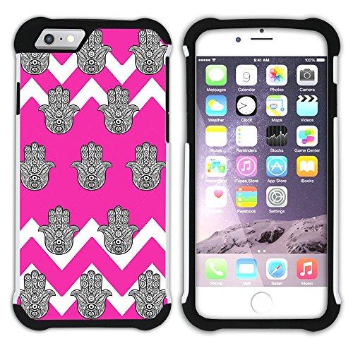 Graphic4You Monogramm Hamsa Hand der Fatima Winkel Muster (Wasserblau) Hart + Weiche Kratzfeste Hülle Case Schale Tasche Schutzhülle für Apple iPhone 6 Plus / 6S Plus Fuchsie