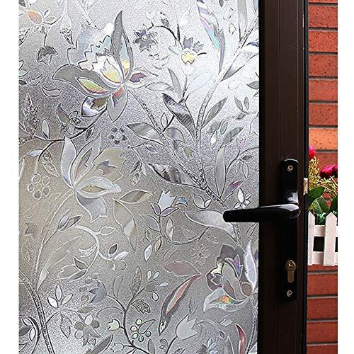 Mikomer Deko-Fensterfolie, Tulpenmotiv, kein Kleber, Milchglas-Folie, reflektierend, statische Haftung, Hitzekontrolle, Anti-UV-Fenster-Dekoration für Zuhause und Büro 35 by 118-inch F05
