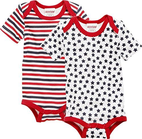 Schnizler Unisex Baby Body Kurzarm, 2er Pack, Sterne Allover und Geringelt, Oeko-Tex Standard 100, Rot (Original 900), 50 (Herstellergröße: 50/56)