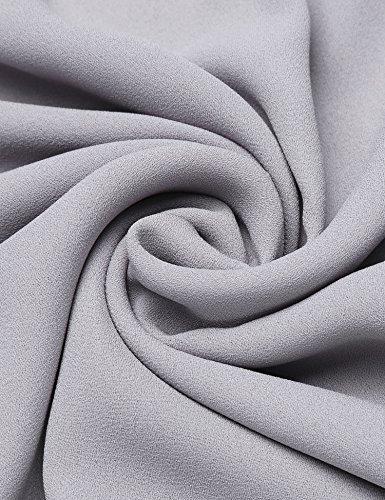 ... Finejo Damen Elegant Blusen Tunika Blusenshirt Langarmshirt Rundhals Oberteile  T-Shirt mit Reißverschluss Vorne Grau 9324a1034b