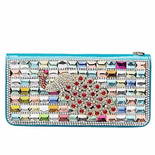 Kaxima Große Leder Geldbörse Hand greifen Damentasche set Diamant Hand Tasche Geldbörse Reißverschluss Bulk 0 Wallet